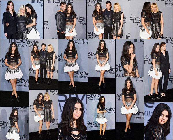 26/10/2015 : Selena Gomez était présente à la cérémonie « Instyle Awards 2015 », se situant à Los Angeles. Selena G. portait une tenue de Louis Vuitton, je la trouve très jolie pour ma part. Elle a posée avec Dakota Johnson, Kate Young, et bien d'autres !