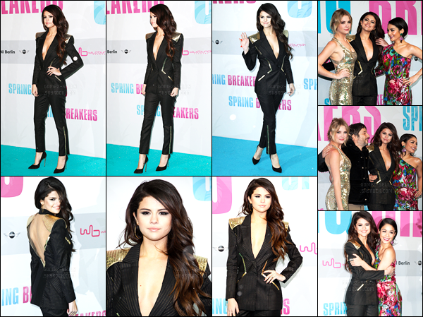''•-19/02/13-' : Selena Gomez était présente lors de l'avant-première de « Spring Breakers », étant, dans Berlin ! Selena, je vous rappelle, interprète le rôle de Faith. Selena a optée pour une tenue imitation costard. Ce soir là, il faisait très froid à Berlin.