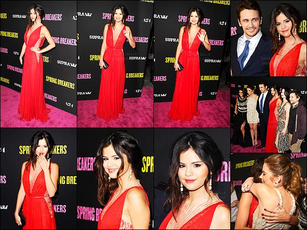 14.03.2013 ─ Selena Gomez était présente lors de l'avant-première du film « Spring Breakers » dans Los Angeles.Selena Gomez, je vous rappelle, interprète le rôle de Faith... C'est sûrement la plus belle tenue des avant première de Sel, je suis carrément amoureuse !