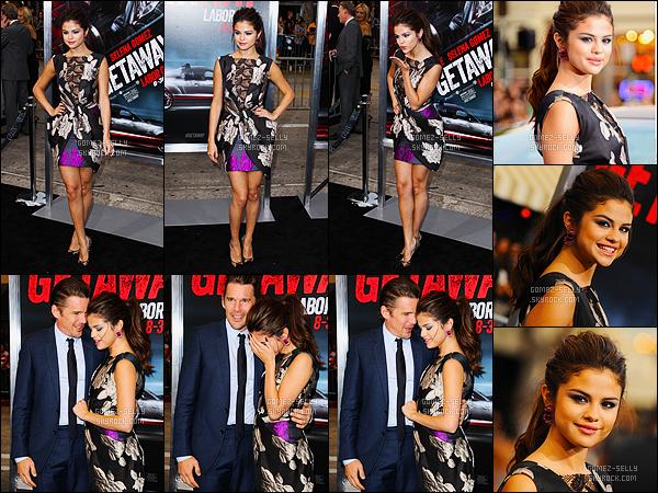 26/08/2013 : Selena Gomez était présente pour l'avant-première de Getaway, qui se situe, dans Los Angeles. Selena Gomez joue le rôle d'une délinquante qui ensuite aidera Brent Magna (Ethan Hawke) dans sa quête. Un très jolie top de la belle latine !