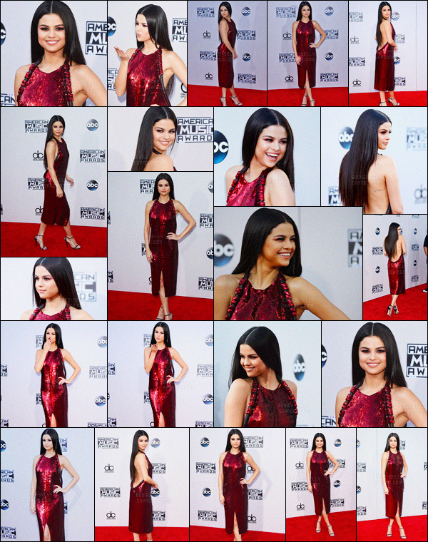 24/11/2015 : Selena Gomez était présente à la cérémonie des «American Music Awards» dans Los Angeles. Elle a été à l'after party organisé par Justin Bieber pour son nouvel album au The Nice Guy, elle a quittée les lieux avec son amie Hailee Steinfeld.
