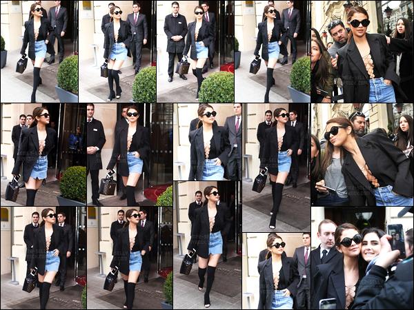 08.03.16 ─ Selena Gomez a été photographiée, alors, qu'elle quittait son hôtel Royal Lemonceau, dans Paris, FR.Selena G. a ensuite été photographiée quittant le restaurant Ginger. La belle brunette a changer de tenue et donc optée pour une tenue vraiment sexy !