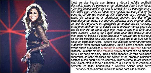 Selena G. annule sa tournée, à cause de sa maladie le lupus, les explications !