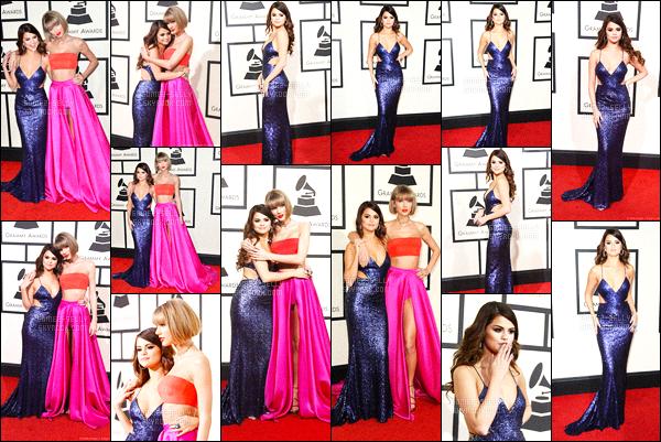 15.02.16 ─ Selena Gomez était présente lors de la cérémonie du «58ème Grammy Awards» dans Los Angeles CA.La jeune chanteuse SG accompagnée sa meilleure amie, la talentueuse chanteuse Taylor Swift qui a gagné un award sans surprise évidemment. Un top !
