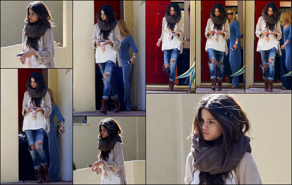 23.02.2014 ─ Selena Gomez a été photographiée, alors, qu'elle quittait le domicile d'une amie dans Los Angeles.Notre belle chanteuse SG a ensuite été photographiée arrivant à l'aéroport de LAX ! Concernant sa tenue, j'aime beaucoup un top pour moi... Vos avis ?
