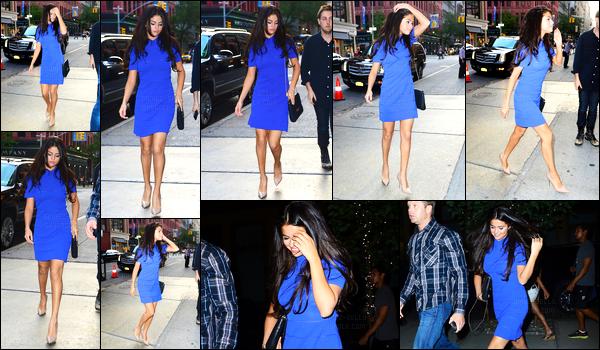 08.07.2014 ─ Selena Gomez a été photographiée arrivant puis quittant le restaurant ABC Kitchen à New-York C.Enfin des news de notre belle brunette SG ! C'est dans la ville qui ne dors jamais qu'on l'a retrouve dans une magnifique robe bleu, j'adore un gros top !