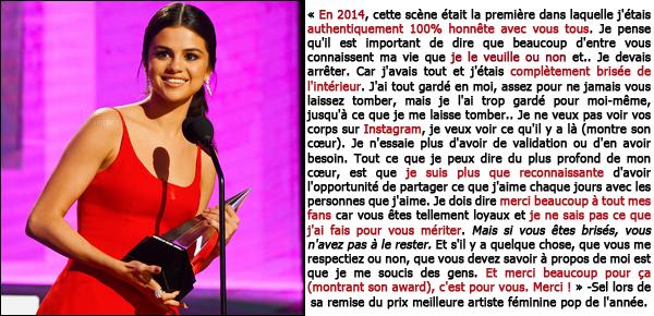 20.11.16 ─ Selena Gomez était présente, lors, de la cérémonie des « American Music Awards » dans Los Angeles.Tel une princesse Selly Gomez a fait son grand retour hier soir en gagnant le prix de meilleure artiste féminine pop de l'année avec un discours poignant
