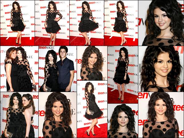 18.08.08 ─ Selena Gomez était présente, lors de l'événement « Teen Vogue Young », étant dans Hollywood, CA.Selena G. était accompagnée des ses amis, David Henrie et Jennifer Stone qu'elle était présente. Concernant sa tenue, sa robe est un très beau top !