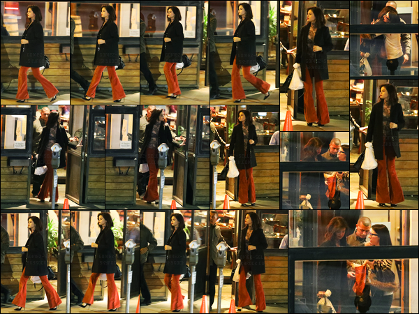 17.01.2017 ─ Selena Gomez a été photographiée, alors, qu'elle quittait le bistro Boneyard, étant à Sherman Oaks.Selena G. recommence a bien sortir ces temps-ci ça fais plaisir ! Concernant sa tenue, je ne suis pas très fan personnellement, ça sera donc un flop..