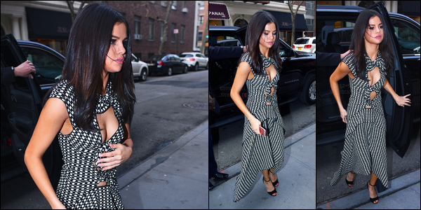 08.02.2017 ─ Selena Gomez a été photographiée, alors, qu'elle quittait la conférence de presse, à New-York C.La belle brunette SG a ensuite été photographiée arrivant à son hôtel. Concernant sa tenue, un très beau top de ma part, coup de coeur pour la tenue..