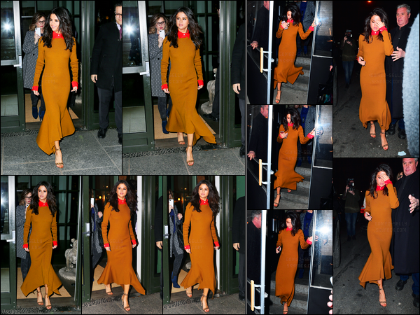 09.02.2017 ─ Selena Gomez a été photographiée arrivant puis quittant son hôtel, qui se situe, dans New-York C.Selena Gomez s'est rendue également à un restaurant où elle a été photographiée en le quittant... Concernant sa tenue, c'est un bof de ma part perso