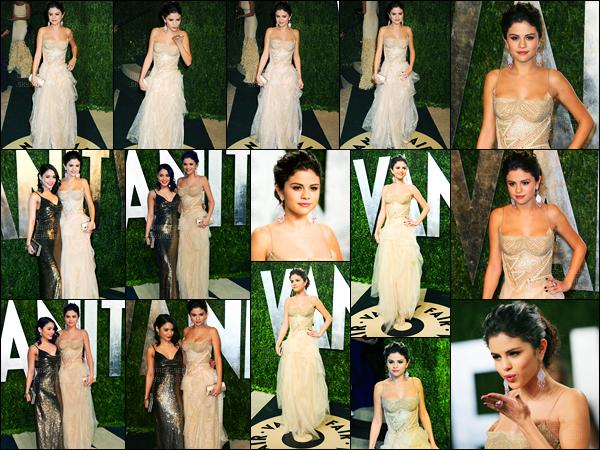 24/02/12 - Selena Gomez était présente lors de la cérémonie des Vanity Fair Oscar Party dans Beverly Hills.Selena était présente, cette année, en compagnie de son amie et co-star, Vanessa Hudgens.. Concernant sa tenue, c'est un très beau top pour moi !