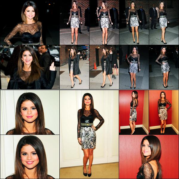 14.03.2011 ─ Selena Gomez a été aperçue alors qu'elle arrivait aux studios de chez David Letterman à New-York.Selena Gomez a également posée dans les studios de l'émission. Concernant sa tenue, c'est un beau top de ma part. Et vous, donnez moi votre avis !