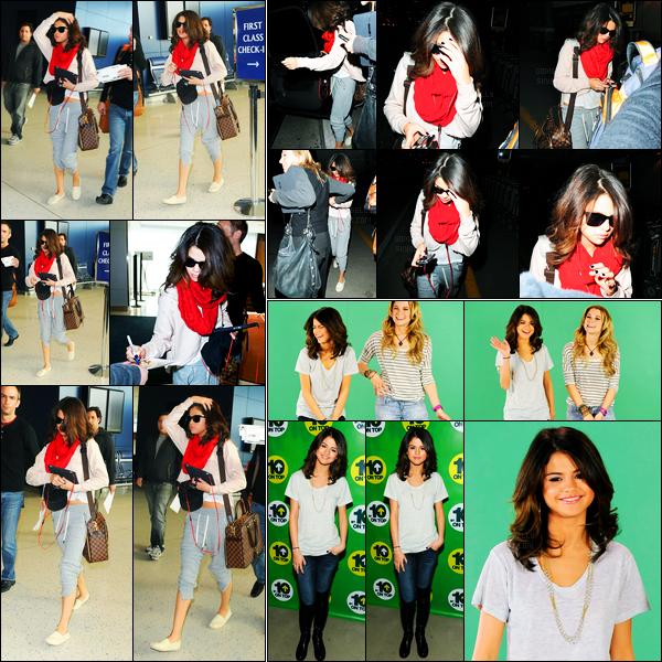 17.03.2011 ─ Selena Gomez a été photographiée, pendant, qu'elle arrivait à l'aéroport de JFK étant à New-York C.Plus tard, la belle Selena G. a été photographiée arrivant à l'aéroport de LAX à Los Angeles... Elle était aussi au Mtv 10 on top. Un top pour sa tenue !