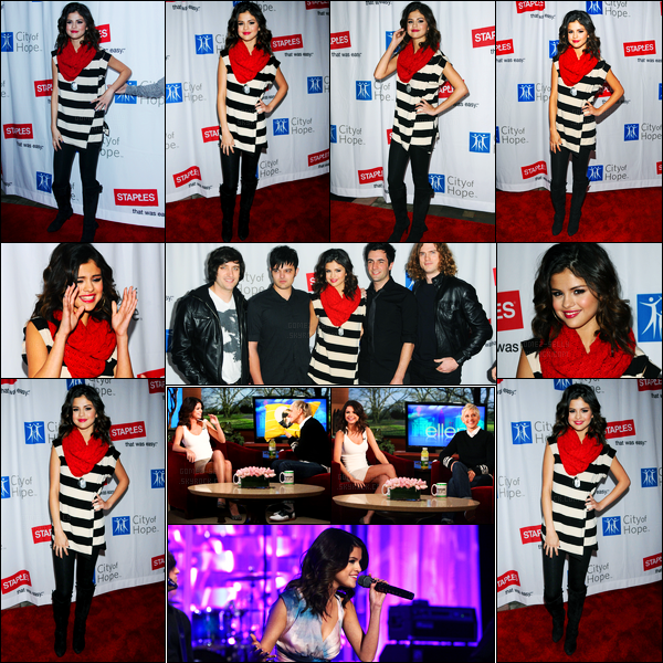 20.03.2011 ─ Selena Gomez était présente lors du concert pour l'association Hope, étant, dans Universal City, CA.La belle est venue dans une tenue très simple mais plutôt jolie je trouve ! Deux jours plus tard, elle était sur le plateau de Ellen DeGeneres... Un top !