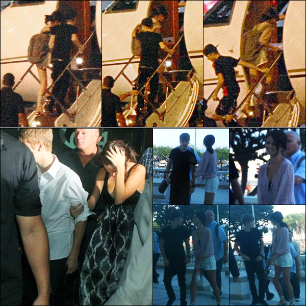 07.10.11 ─ Selena Gomez a été photographiée alors qu'elle montait dans un avion à l'aéroport dans Sao Paulo, BR.Deux jours plus tôt, les amoureux étaient à Copacabana, où ils ont salué des fans et sont aller au restaurant... Concernant ses tenues, c'est des tops !