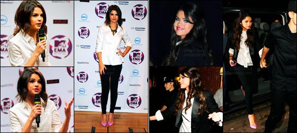 05.11.11 ─ Selena Gomez était présente lors de la cérémonie des «MTV Europe Music Awards» étant dans Belfast.Juste avant la cérémonie, la belle s'est rendue à la conférence de presse puis elle a finit la soirée à un dîner de la cérémonie. Sa tenue, c'est un top !