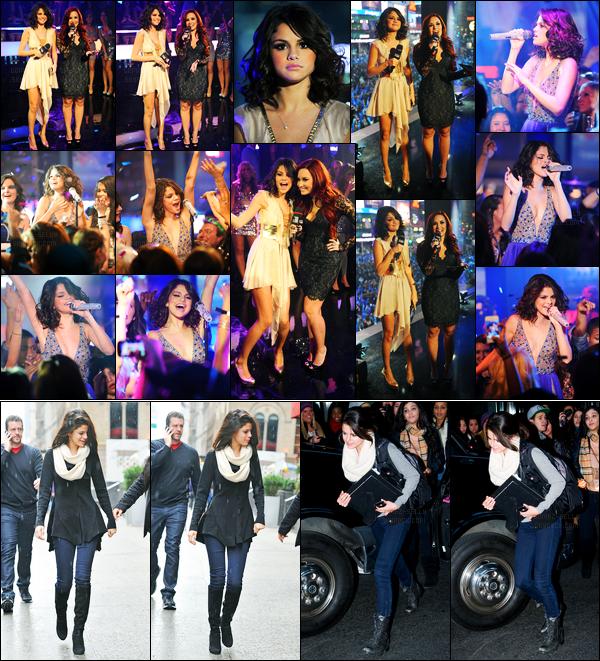 31.12.11 ─ Selena Gomez était présente lors de la cérémonie des « MTV New-York Year's Eve » étant à New-York.Un peu plus tôt, la belle a été photographiée avec sa famille allant dîner puis quittant son hôtel. Concernant sa tenue, c'est un très beau top pour moi.