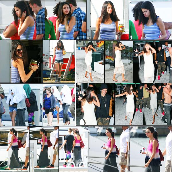 09.03.2012 ─ Selena Gomez a été photographiée, alors, qu'elle était sur le set de « Spring Breakers », en Floride.Deux jours après, la belle a été photographiée alors qu'elle profitait de la famille à Justin puis allant dîner avec Justin. Concernant ces tenues, c'est top