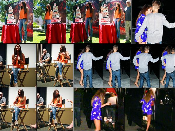 25.06.2012 ─ Selena Gomez était présente lors de la conférence de presse de «Hôtel Transylvanie» à Culver City.La belle Selena G. a ensuite été photographiée en compagnie de Justin B. alors qu'elle quittait un restaurant. Concernant ses tenues, c'est deux tops !