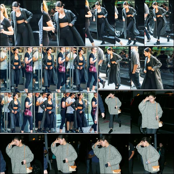 10.09.2017 ─ Selena Gomez a été photographiée arrivant, et, quittant le centre sportif « SoulCycle », à New-York.Plus tard, tard dans la soirée, Sel a été photographiée alors qu'elle se rendait à l'appartement de la chanteuse Taylor Swift... Concernant sa tenue, un top