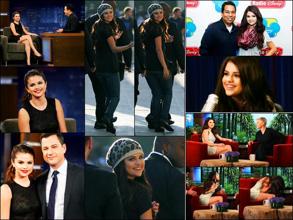 27.09.2012 ─ Selena Gomez était présente lors de la célèbre émission « Jimmy Kimmel Live », dans Los Angeles.La belle a ensuite été photographiée alors qu'elle quittait les studios. Le lendemain, elle s'est rendue chez Radio Disney puis à Ellen DeGeneres ! Un top !