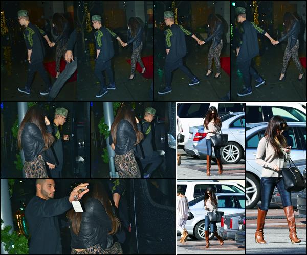 02.12.2012 ─ Selena Gomez a été photographiée, alors, qu'elle quittait « Wolfgang's Steakhouse » à Los Angeles.La belle Selly était en compagnie de son petit-ami, Justin Bieber. Le lendemain, elle a été vue quittant le domicile de celui-ci ainsi que quittant un studio.