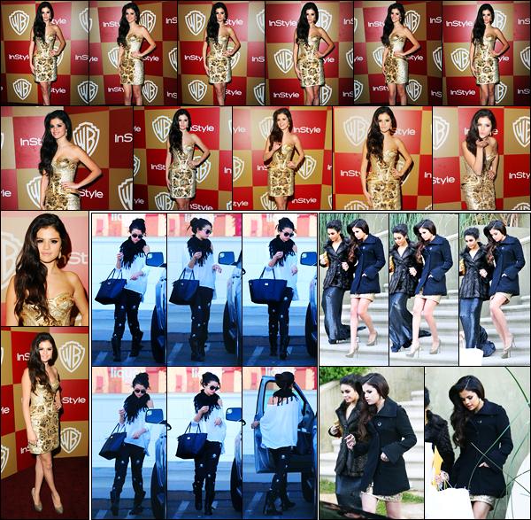 13.01.2013 ─ Selena Gomez a été photographiée, alors, qu'elle quittait une pharmacie, étant à Encino, Californie.Longue journée pour la belle, puisqu'elle a ensuite été photographiée se rendant à l'after party des Golden Globe Awards avec Vanessa Hudgens... Top !