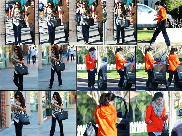 22.01.2013 ─ Selena Gomez a été photographiée, alors, qu'elle arrivait chez le médecin, étant, dans Beverly Hills.Plus tard dans la journée, la belle a été photographiée alors qu'elle quittait le domicile d'une amie. Concernant ses deux tenues, c'est deux flops de moi !