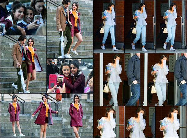 04.10.2017 ─ Selena Gomez a été photographiée, alors, qu'elle était sur le set de nouveau film étant à New-York.Sur le tournage, Sel a pris un peu de temps pour ses fans. Plus tard, elle a été photographiée quittant son appartement. Concernant les tenues, des tops.