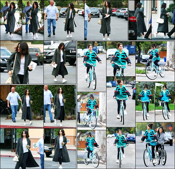 31.10.2017 ─ Selena Gomez a été photographiée arrivant et quittant le « Panera Bread », étant à Westlake Village.Plus tard, elle a été photographiée arrivant à l'hôtel « Four Seasons » à Westlake Village. Puis faisant du vélo dans LA avec la veste d'Abel... C'est un top.