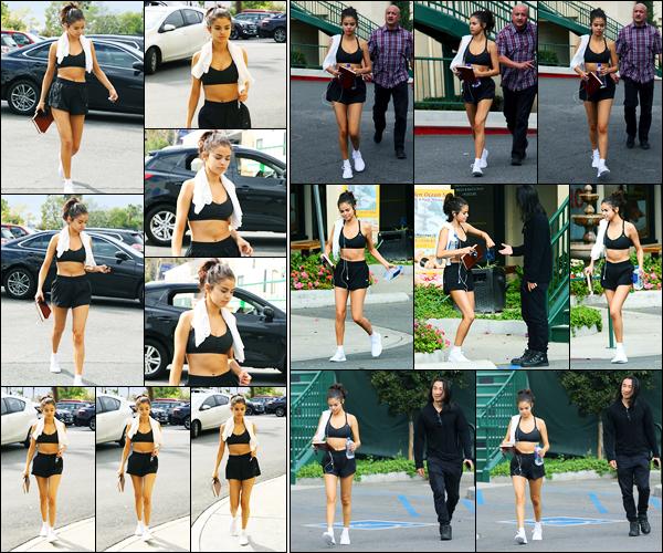 01.11.2017 ─ Selena Gomez a été photographiée alors qu'elle arrivait à une salle de sport étant dans Los Angeles.Il a l'air de faire assez chaud là bas sous le soleil de Californie vu sa tenue ! Elle a ensuite été photographiée la quittant... Quant à la tenue, c'est un top !