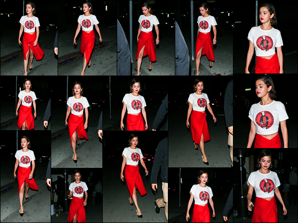 -24/03/2018- ─ Selena Gomez a été photographiée alors qu'elle quittait le restaurant «The Nice Guy», à West Hollywood.Après avoir participer au rassemblement en début de journée la belle s'est rendue dans la soirée, au restaurant pour dîner ! Sa tenue est un très jolie top