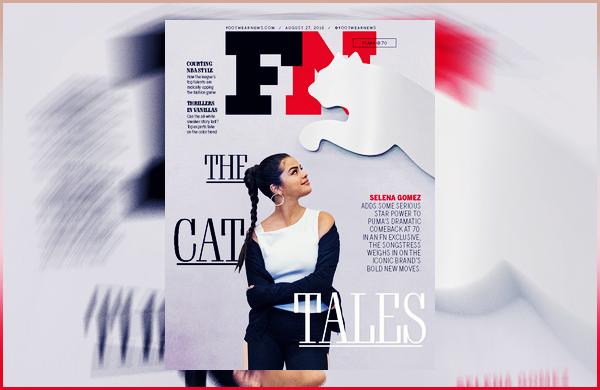 Selena G. fait la couverture du magazine « Footwear News » du mois d'Août