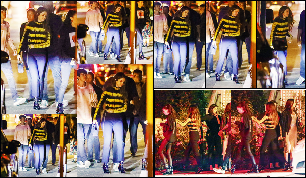 ''•-23/10/19-' : Selena Gomez a été vue alors qu'elle se rendait en soirée avec ses amies dans West Hollywood. La chanteuse Selena G. a fêtée en compagnie de ses amies la sortie de ses deux nouvelles chansons... C'est plutôt un beau top, sa tenue.
