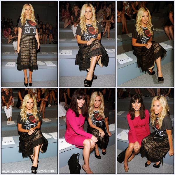 Ashley arrivant avec sa soeur Jennifer au défilé Luca Luca Spring 2012 au Lincoln Center à New-York ce Vendredi 09 Septembre.