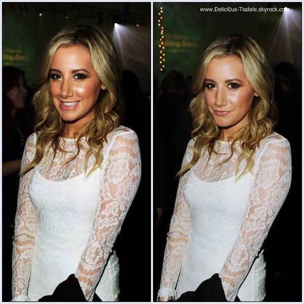 Ashley à la première mondiale du film Breaking Dawn - Part 1 de la saga Twilight à Los Angeles ce Lundi 14 Novembre.