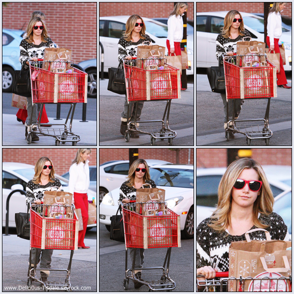 Ashley quittant l'épicerie Trader Joe's à Toluca Lake ce Dimanche 04 Décembre.