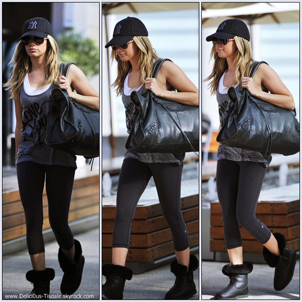 Ashley se rendant à la salle de gym Equinox dans West Hollywood ce Lundi 09 Janvier.