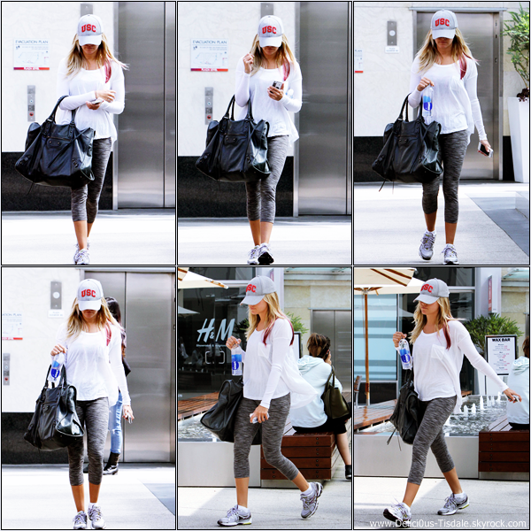 Ashley se rendant à la salle de gym Equinox dans West Hollywood ce Jeudi 29 Mars.