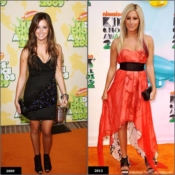 Ashley a assisté en 2009 et 2012 aux Kids Choice Awards ...    -    Quelle tenue préfères-tu ?