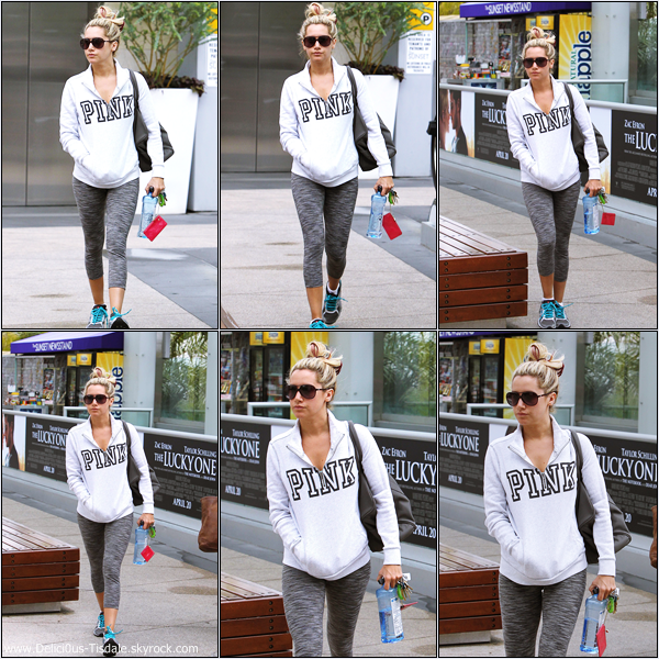 Ashley se rendant à la salle de gym Equinox dans West Hollywood ce Mercredi 11 Avril.