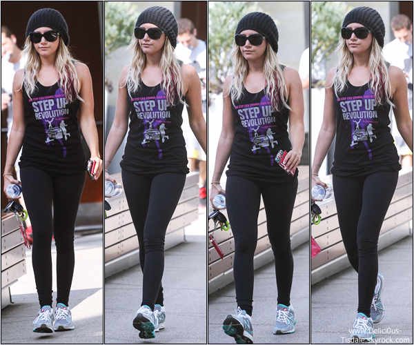 Ashley se rendant à la salle de gym Equinox dans West Hollywood ce Lundi 07 Mai.