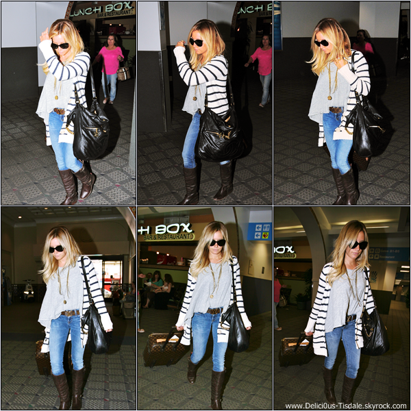 Ashley arrivant à l'aéroport de LAX à Los Angeles pour prendre un vol en direction de Las Vegas ce Jeudi 07 Juin.
