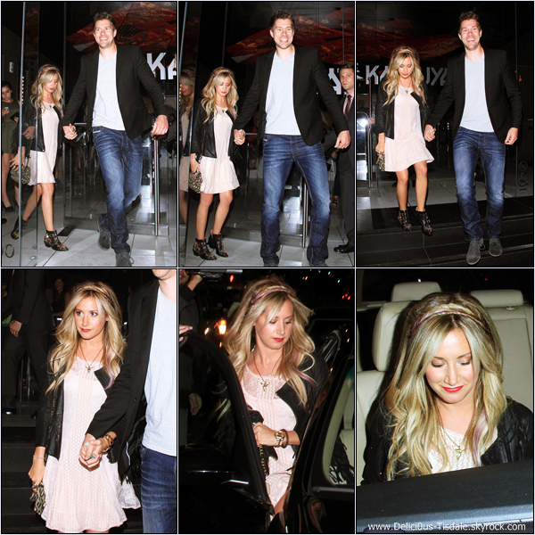 -   02/08/2012 : Ashley et son petit-ami Scott quittant le restaurant Katsuya à Hollywood.   -