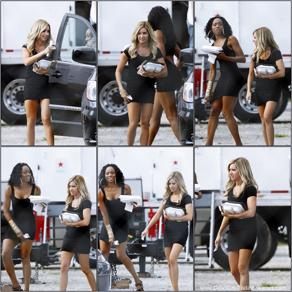 -   06/09/2012 : Ashley s'accordant une pause déjeuner sur le tournage de son prochain film Scary Movie 5 en compagnie de sa co-star Erica Ash à Atlanta.   -