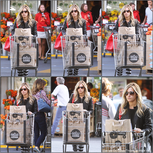 -   31/10/2012 : Ashley quittant l'épicerie Whole Foods à Studio City.   -