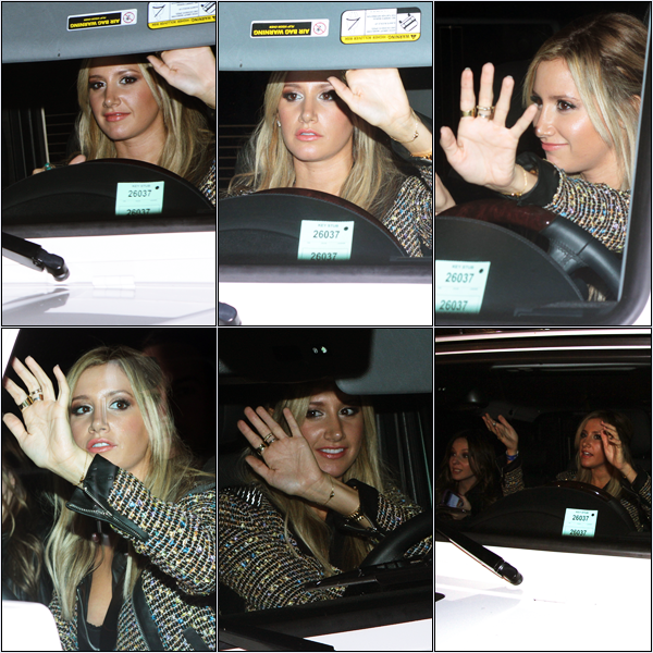 -   03/11/2012 : Ashley arrivant à l'hôtel Roosevelt à Hollywood.   -