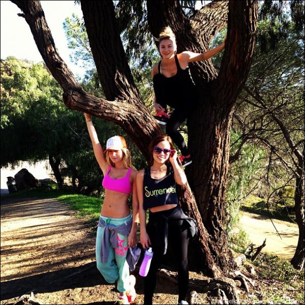-   16/01/2013: Ashley faisant une randonnée en compagnie de Kim Hidalgo et  Allie Gonino à Hollywood Hills.   -