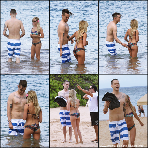 -   10/03/2013: Ashley et son petit-ami Christopher French à la plage de Maui à Hawaii.   -